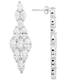 "Giani Bernini Medium Cubic Zirconia Kite Drop Earrings in Sterling Silver, 1.5"", Created for Macy's"