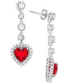 Giani Bernini Cubic Zirconia Heart Drop Earrings in Sterling Silver, Created for Macy's