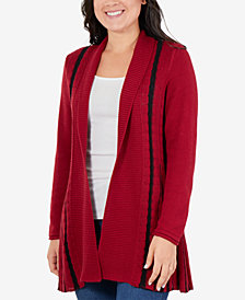NY Collection Petite Striped Open-Front Cardigan