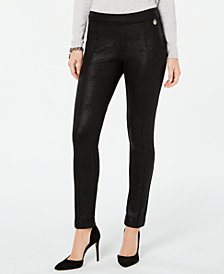 Tommy Hilfiger Crackle-Finish Skinny Pants, Created for Macy's