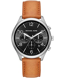 Men's Chronograph Merrick Brown Leather Strap Watch 42mm