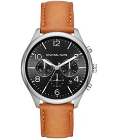 Michael Kors Men's Chronograph Merrick Brown Leather Strap Watch 42mm