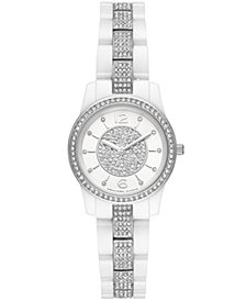Michael Kors Women's Mini Runway White Ceramic Bracelet Watch 28mm