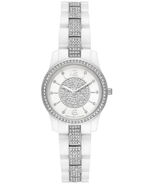aca678ea6 Michael Kors Women's Mini Runway White Ceramic Bracelet Watch 28mm ...