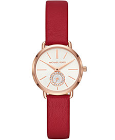 Michael Kors Women's Petite Portia Red Leather Strap Watch 28mm