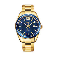Men's ESQ0162 Gold IP Stainless Steel Bracelet Watch with Date Window, Blue Dial