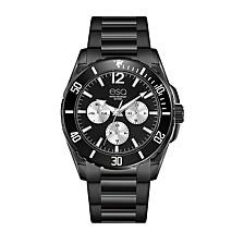 Men's Multi-Function Black IP Stainless Steel Bracelet Watch, Black Dial