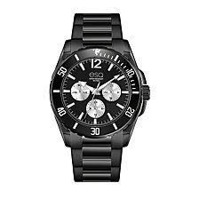 Men's ESQ0240 Multi-Function Black IP Stainless Steel Bracelet Watch, Black Dial