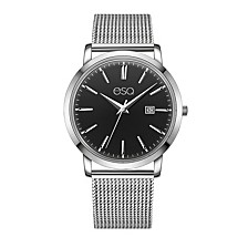 Men's Domed Crystal Silver-Tone Stainless Steel Watch with Black Dial
