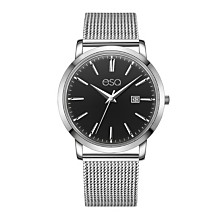Men's ESQ0040 Domed Crystal Silver-Tone Stainless Steel Watch with Black Dial
