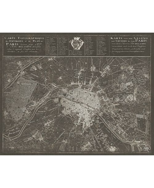 "Creative Gallery Paris Map In Dark Grey 16"" X 20"" Acrylic Wall Art Print"