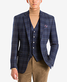 Lauren Ralph Lauren Men's Classic-Fit Navy/Brown Plaid Wool Matching Jacket and Vest