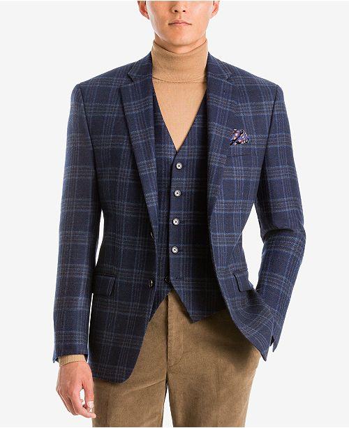 Lauren Ralph Lauren  Men's Classic-Fit Navy/Brown Plaid Wool Matching Jacket and Vest