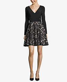 Xscape Double-V Damask Fit & Flare Dress