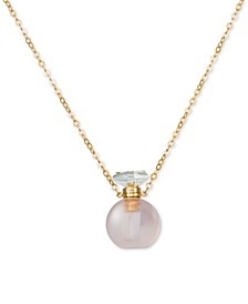"Rose Quartz Perfume Jewelry Bottle 20""-24"" Pendant Necklace (10 ct. t.w.) in 14K Rose Gold-Plated Silver"
