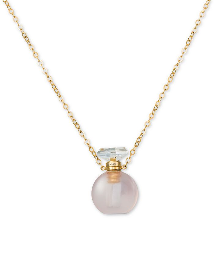 """Le Vian - Rose Quartz Perfume Jewelry Bottle 20""""-24"""" Pendant Necklace (10 ct. t.w.) in Rose Gold-Plated Silver"""