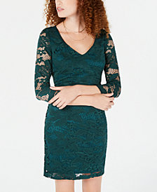 Crystal Doll Juniors' Lace Bodycon Dress