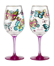 Enesco Lolita Butterfly Wishes 2-Pc. Wine Glass Set
