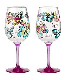 Enesco Lolita Butterfly Wishes 2-Pc. Wine Glass Set