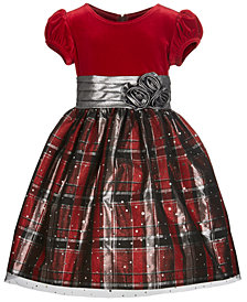 Bonnie Jean Little Girls Velvet Plaid Dress