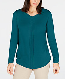 Karen Scott Cotton Mixed-Knit Sweater, Created for Macy's