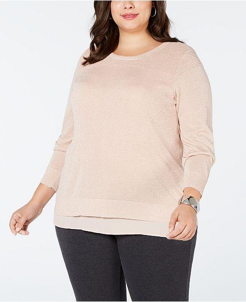 Joseph A Plus Size Split-Back Layered Sweater