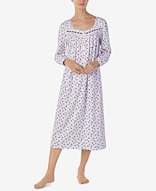 Eileen West Floral-Print Cotton Knit Ballet-Length Nightgown