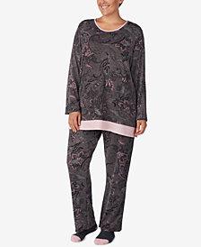 Ellen Tracy Plus Size Printed Knit Pajama Set
