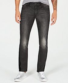I.N.C. Men's Velvet Side Stripe Skinny Jeans, Created for Macy's