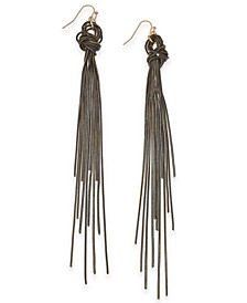 "Extra Large Gold-Tone Black Knotted Chain Linear Earrings, 5.75"", Created for Macy's"