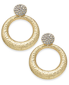 "I.N.C. Large Gold-Tone Gypsy Crystal Pavé Hoop Earrings, 1.75"", Created for Macy's"