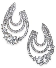 "I.N.C. Medium Silver-Tone Crystal Triple-Row Hoop Earrings, 1.25"", Created for Macy's"