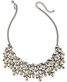 "I.N.C. Hematite-Tone Frontal Necklace, 16"" + 3"" extender, Created for Macy's"