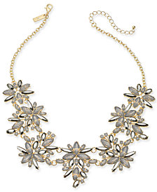 "I.N.C. Gold-Tone Neutral Stone Marquise Frontal Necklace, 18"" + 3"" extender, Created for Macy's"