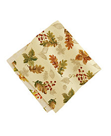 "Elrene Swaying Leaves 17"" X 17"" Double Border Napkins, Set of 8"