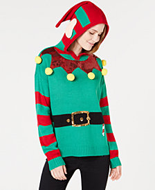 Hooked Up by IOT Juniors' Hooded Elf Sweater