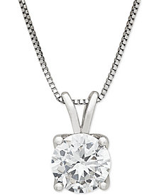 "Lab Grown Diamond Solitaire 18"" Pendant Necklace (1 ct. t.w.) in 14k White Gold"