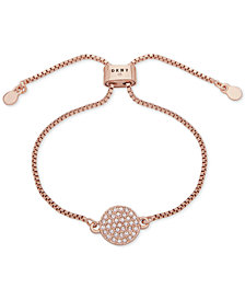 DKNY Rose Gold-Tone Pavé Disc Slider Bracelet