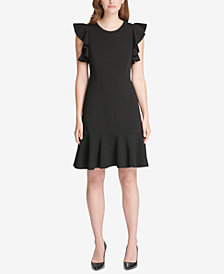 Tommy Hilfiger Flutter-Sleeve Flounce Dress