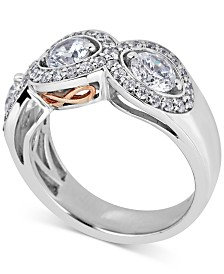 Diamond Three Stone Anniversary Band (2 ct. t.w.) in 14k White & Rose Gold