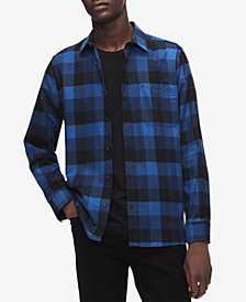 Calvin Klein Men's Applied Placket Plaid Shirt