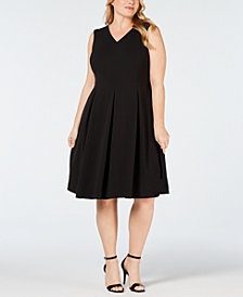 Calvin Klein Plus Size Illusion Back Fit & Flare Dress