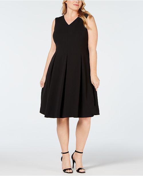 0a3fbec92a68a Calvin Klein Plus Size Illusion Back Fit   Flare Dress   Reviews ...