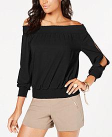 Thalia Sodi Smocked Split-Sleeve Top, Created for Macy's