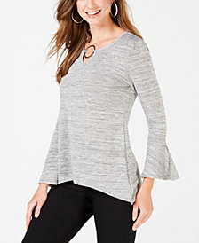NY Collection Petite Metallic Ring-Neck Top