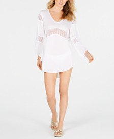 Raviya White Crochet-Inset Tunic Cover-Up