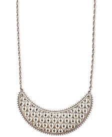 "Lucky Brand Silver-Tone Pavé Openwork Statement Necklace, 18"" + 2"" extender"