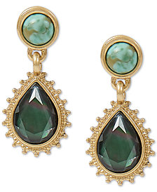 Lucky Brand Gold-Tone Black Mother-of-Pearl Stone Teardrop Earrings
