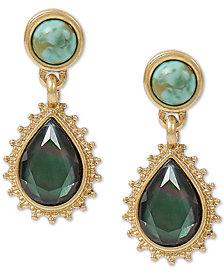 Lucky Brand Gold-Tone Black Mother-of-Pearl Stone Teardrop Earrings