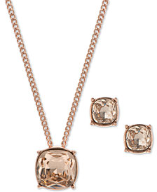 "Givenchy Crystal Pendant Necklace & Stud Earrings Set, 16"" + 3"" extender"